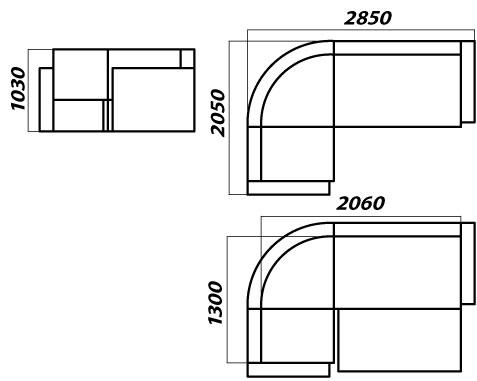размеры углового дивана Хилтон схема